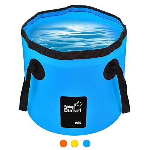 Cubo Plegable 20L   Cubo Plegable portátil Portador de Agua Contenedor de Lavado para Acampar Senderismo Pesca Viajes (Azul)