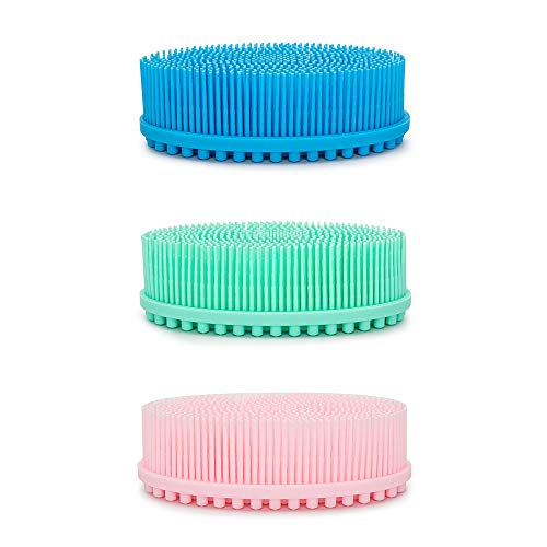 Agirlvct 3 Pcs Silicone Loofah Body Scrubber, Soft Rubber Loofahs,Sponge Scrubber Brush,Loofa Bath Shower Kit,Silicon Back Scrubber Eco for Gym Massaging Travel Baby Kids Men Family (Blue Green Pink)