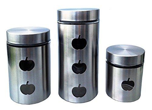GMMH Acero INOX. 3 Set de Botes de Almacenamiento Manzana pequeño Latas...