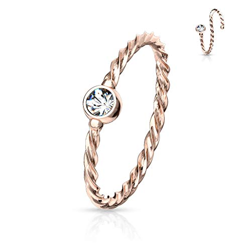 Rose Gold Twisted Thin Ring Hoop Eyebrow Nose Ear Stud Cartilage Tragus Bendable Piercing