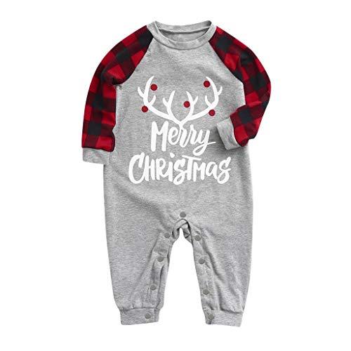 Familie Kleidung Vater Mutter Kind Baby, Hausdienst Weihnachten Elk Karierte Nachtwäsche Bekleidungssets Tops + Hosen Pyjamas Outfits Set oder Strampler (Grau Baby, 3-6 Monate)