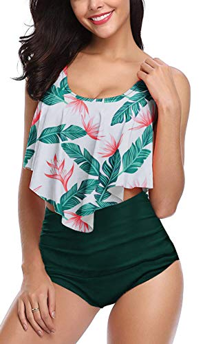 Aixy Tankini Swimsuit for Women Vintage High Waisted Bathing Suit Ruffled Bikini Top