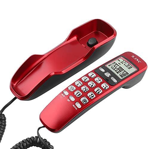 ASHATA Wandtelefon Schnurtelefon, LCD Schnurgebundenes Telefon FSK/DTMF Dual Anrufer ID Kompakttelefon,Multifunktion Schnurgebundenes Analog Telefon für Hause Büro usw.(Rot)