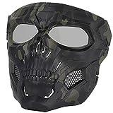Sensong Máscara de paintball con gafas de protección, máscara táctica de calavera, para airsoft, airsoft, Halloween, CS, juego de fiesta, caza, Cospla CP, color negro y verde (BCP & GreyLens)