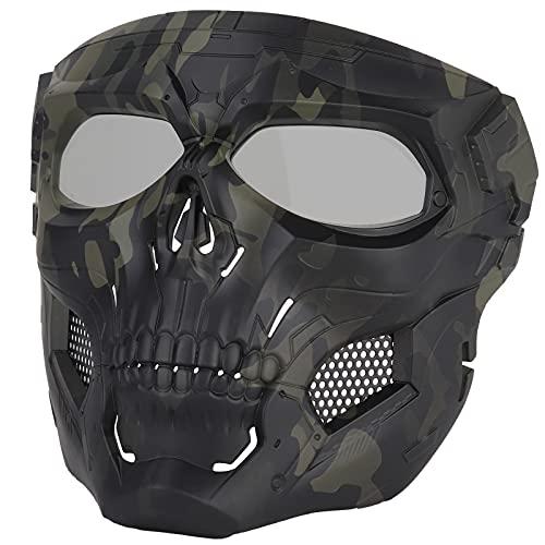 Sensong Paintball Maske mit Schutzbrille Masken Taktische Skull Schutzmaske fur Airsoft Softair Halloween CS Partyspiel Jagd Cospla CP, Schwarz & CP, Bräunen, Schwarz, Grün (BCP & GreyLens)