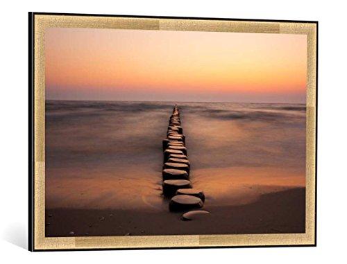 kunst für alle Bild mit Bilder-Rahmen: Lutz Lange Endlos - dekorativer Kunstdruck, hochwertig gerahmt, 85x55 cm, Kupfer gebürstet