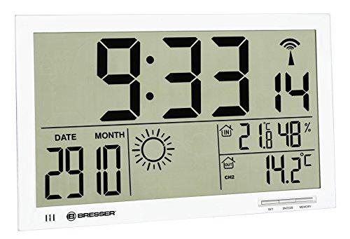 Bresser Wetterstation Funk mit Außensensor MyTime Jumbo LCD Wetter Wanduhr mit Außensensor und extra großen Ziffern für Tisch und Wandmontage, weiß