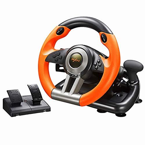 Six6 Lenkrad PC 180 Grad Doppelschwingungslauf Lenkrad mit Pedalen für PC / P3 / P4 / Box Eins/Switch,Orange
