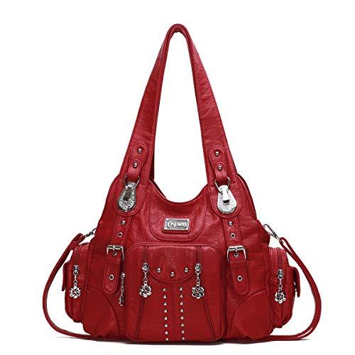 KL928 Damen Tasche Handtasche Schultertasche Umhängetaschen leder Damenhandtasche Henkeltaschen Lederhandtasche Rucksack vintage taschen für Damen (XS160199-red)