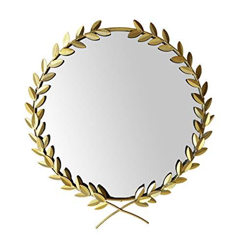 Garneck 1Pc Muur Gemonteerde Make-Up Spiegel Olijftak Frame Opknoping Bladeren Make-Up Muur Gemonteerde Spiegel Kijken Spiegel Voor Thuis Badkamer Toilet
