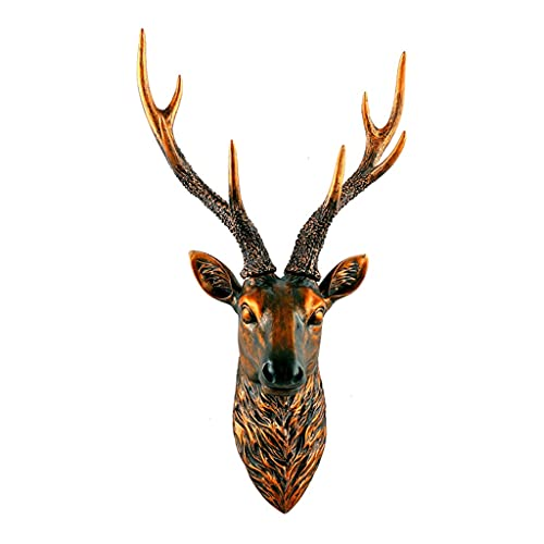 MNYHJDS Deer Head Living Room Wall Hanging Bar Retro Wall Decoration Three-dimensional Animal Pendant Easy to Assemble and Hang Resin Deer Head J (Color : BROWN, Size : 59 * 35 * 18CM)