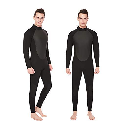 Flexel Wetsuit Women and Men, 3mm Full Scuba Diving Wet Suit Thermal Neoprene Surfing Snorkeling Suits (3mm Black, Large)