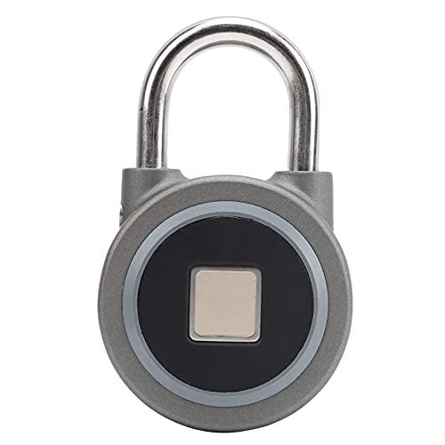 Fingerprint Portable Lock Smart Padlock, Keyless Anti‑Theft Security Door Tool IP65 Waterproof for Bag Drawer Suitcase Gym File Cabinet(Gray)