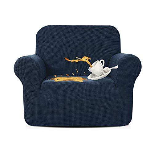 Pillowcase Wasserabweisende Sesselbezüge 1 Stück Stretchstuhl Schonbezug für Wohnzimmer Rutschfester Stuhlschutz Jacquard Sofabezug (Navy, 1 Sitzer/Stuhl)