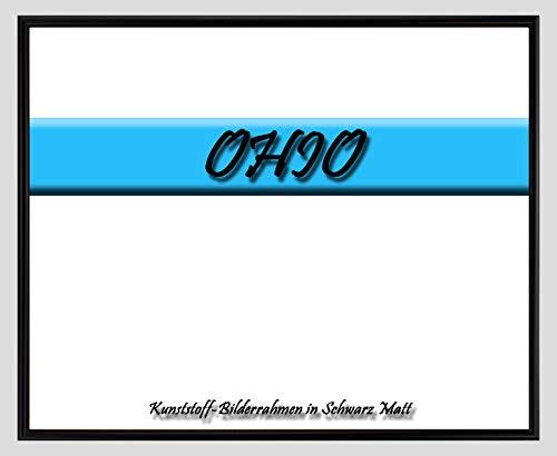 Kunststoff-Bilderrahmen Ohio 35 x 42 cm Schwarz Matt mit 1mm Acrylglas klar und weißer Rückwand – WhiteFix/Easy to Use. Posterrahmen in vielen Farben und Größen. Anfertigung nach Maß möglich.
