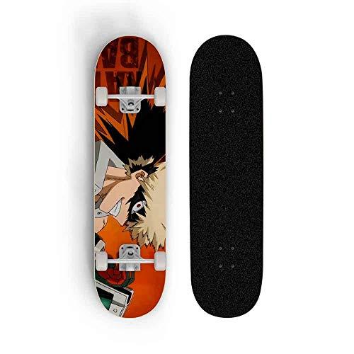 Dmxiezib Teenager Standard Skateboard Boy Four Wheel Skill Deck Beginner Double Tilt Skateboard Anime Skateboard My Hero Academia: Bakugou Katsuki, Scooter Adult Professional Skateboard