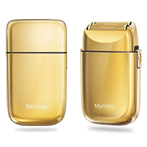 Monlida Rasierer Herren Elektrisch, Rasierapparat Golden, Elektrorasierer & Präzisionstrimmer, 3 Stunden Akkulaufzeit, USB wiederaufladbarer und kabelloser elektrischer Rasierer