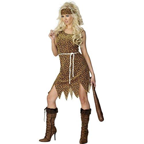 NET TOYS Costume âge de Pierre - Costume de Femme des cavernes Brun Taille M 40/42 - Tenue de Jane - Costume de Jungle - néandertalienne - Costume Femme âge de Pierre