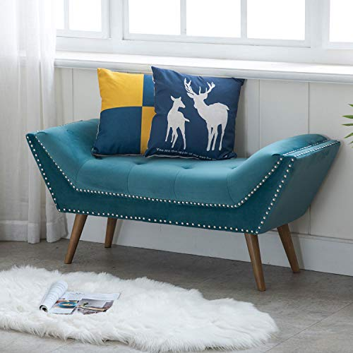 Kmax Upholstered Entryway Bench with Arms, Button Tufted Velvet Fabric Bedroom Bench with Nailhead Trim & Rubber Wood Legs, Teal Blue