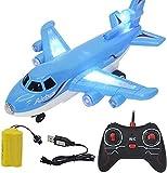ZJDM Kids RC Airplane Toys Airbus Toys con música y Luces Juguete de avión de Control Remoto eléctrico Grande para Interiores y Exteriores Juguetes de Vuelo (Color: D)