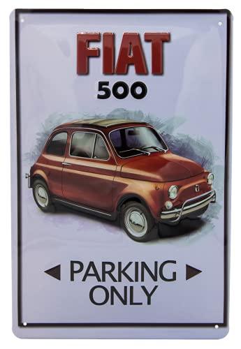 FIAT 500 Parking - Cartel de chapa de alta calidad para puerta o pared, 30 x 20 cm