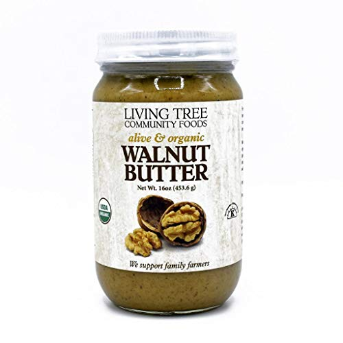 Living Tree Community Foods, Walnut Butter Organic No Added Sugar - Alive & Raw Nut Butter Made in Small Batches & Always Fresh - 16 Ounce Jar