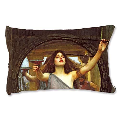 BONNIU Funda Decorativa Cojín con Cremallera 40X60 cm Funda Almohada Terciopelo Mujer Vintage Art - Waterhouse - Circe Que Ofrece La Taza A Ulises