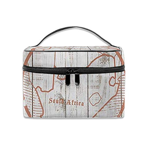 Bolsa de cosméticos de Viaje portátil para Mujer, Bolsa portátil Multifuncional, Bolsa de Acabado, Sello de Mapa de Sudáfrica