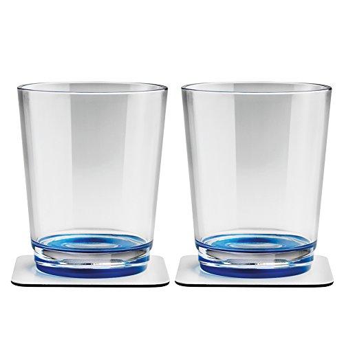 Silwy Magnetglas 250 ml mit Untersetzer 2er-Set blau