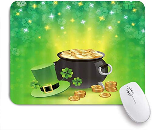 Benutzerdefiniertes Büro Mauspad,Irish Elf Leprechaun Hut Frühlingsfest St. Patricks Holiday Goldmünzen-Topfblätter mit funkelndem Klee,Anti-slip Rubber Base Gaming Mouse Pad Mat