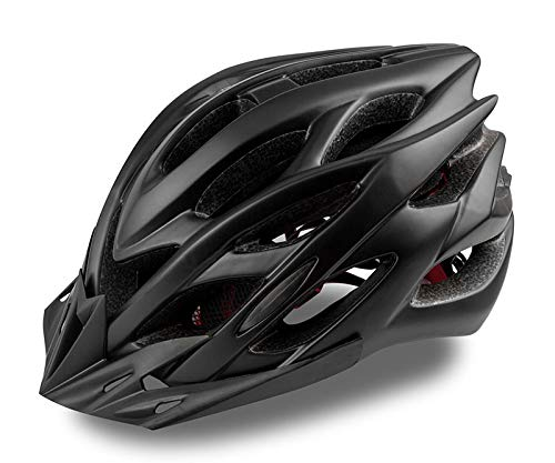 KINGLEAD Fahrradhelm mit LED-Licht, Unisex-geschützter Fahrradhelm für Radrennen Skateboardfahren im Freien Sicherheit Superleichter Verstellbarer mit CE-Zertifikat (schwarz)