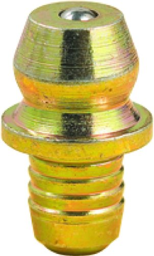 Lumax LX-3505-10 Gold/Silver Drive Type Straight 0.50' Long Grease Fitting for 3/16' Diameter Hole, (Pack of 10). Circumferential Serrated Shank Provides a Grease Tight Seal When Installed.