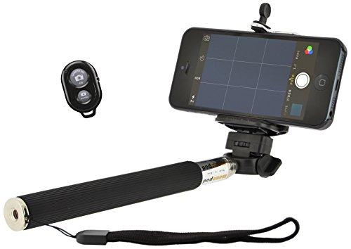 4-OK MonoPod uittrekbare selfie-stang + adapter voor statief + Bluetooth afstandsbediening voor smartphone en camera, zwart
