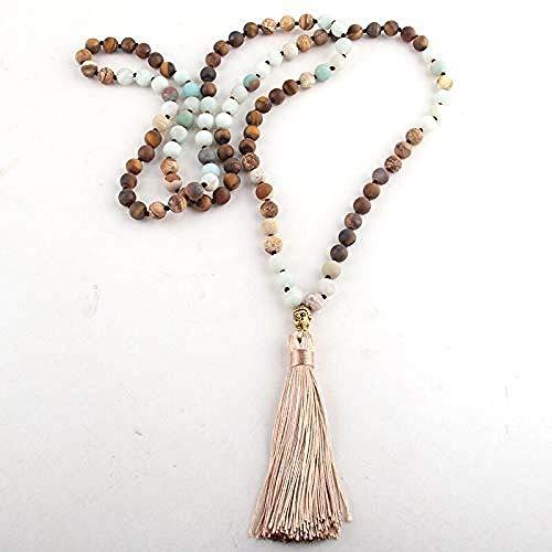 DUEJJH Co.,ltd Collar de joyería de Yoga 8Mm 108Pc Cuentas Medias Piedras Preciosas Collar de Mala de Buda Anudado Largo para Mujer Collares laciados