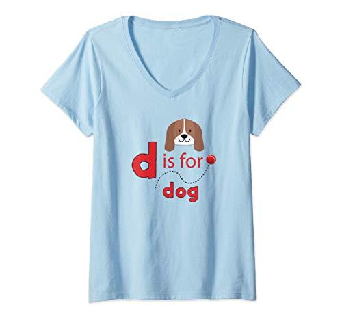 Mujer D es para diseño de pelota de tenis para perros Camiseta Cuello V