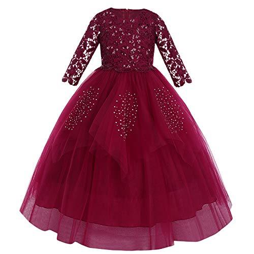 FYMNSI Vestido largo de noche para niña con diseño de flores y...
