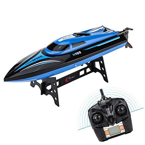 RC-Modellboot, 2,4 GHz-Fernbedienung, 4 Kanäle, 25 km/h, Regatta-Schnellboot, Spielzeugschiff, Schwarz + Blau