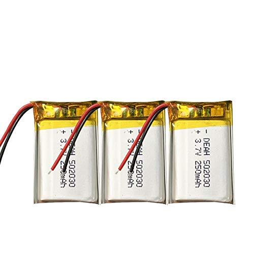 ahjs457 3 uds 3,7 V Lipo Celdas 502030 250 mah batería Recargable de polímero de Litio para MP3 GPS Auriculares Bluetooth DVD PDA lámpara LED cámara