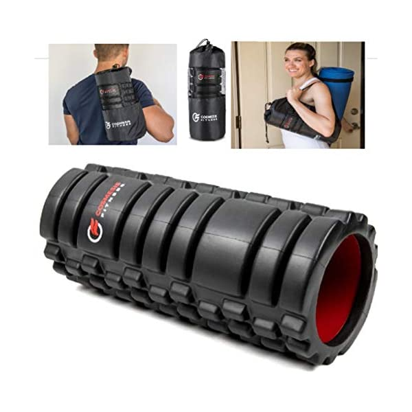 Foam Roller & Carry Bag Deep Tissue Massage. Trigger Point Release on Muscles. 13 inch Textured. Physical Therapy & Exercise. Back Pain Soft Tissue Massage. High Density EVA on Rigid ABS Tube.