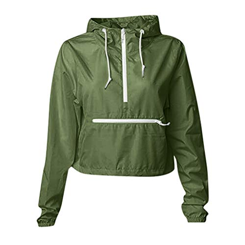 Viewk Women's Lightweight Autumn and Winterjacket Casual Sports Hooded Army Green