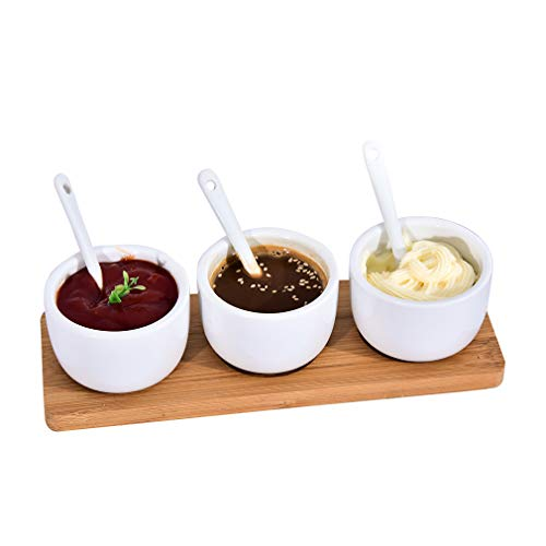 Singkasa Adorable Sauce Dip Bowls-Condiment Set 7 Pieces with bamboo tray-3 oz ceramic bowl, bamboo tray, spoon serving for Cereal, Salad, Dessert, Ice Cream