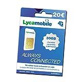 Tarjeta SIM prepago Lycamobile - Tarifa con Llamadas Nacionales ILIMITADAS + 30GB - Regístrate TÚ Mismo - Cobertura Movistar 4G