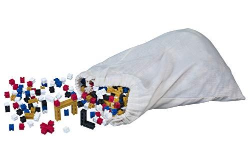 LINEX 400082141 leermateriaal dobbelstenen voor het trainen van tellen, bouwen en spelen, kunststof, katoenen tas met 1.000 stuks in 5 kleuren, randlengte: 10 x 10 mm