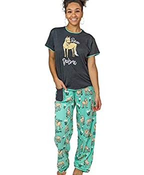 Lazy One Women s Pajama Set Short Sleeves with Cute Prints Relaxed Fit Horse Western Animal  Pasture Bed Time Mint Medium