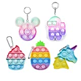 5 PCS Mini Rainbow Pop on It Fidget Toys Keychain Bubble Sensory Fidget Toys Anxiety & Stress Relief Items Gifts Autism Learning Materials Toys Pack Set (Style B)