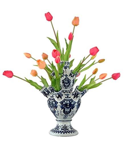 Tulpenvaas Delfts blauw Mét Tulpen Roze | 42 cm | Kunst Tulpen | Delfts blauwe vaas | Tulpen vaas | Relatiegeschenk | Design vaas | Bloemenvaas |