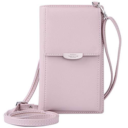 WANYIG Frauen Brieftasche Cross-Body Tasche PU Leder Handy Schultertasche Kleine Damen Geldbörse Handy Mini-Tasche Kartenhalter Umhängetasche(Rosa)