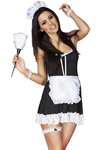 Chilirose Dessous Hausmädchen-Set sexy Damen Maid Kostüm aus Kleid, Haarreif, String, Strumpfband, Staubwedel und Armbänder Größe: L
