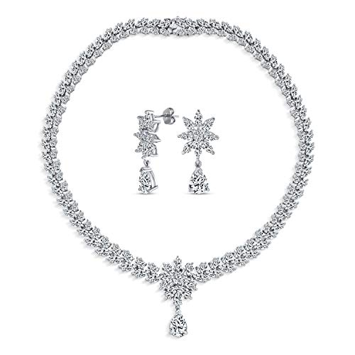 Bling Jewelry Nuptiale Fleur Flore Prom Collier Fixé 6231 Femme en Forme De V CZ Zircone Cubique Ton Argent en Laiton Plaque Rhodium