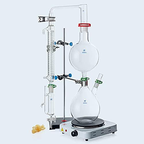 Aparato de destilación de aceite esencial de laboratorio, kit de destilación de cristalería de borosilicato purificador de destilador de agua con estufa caliente condensador serpentino,2000ml